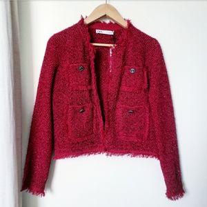 Zara Red Tweed Jacket